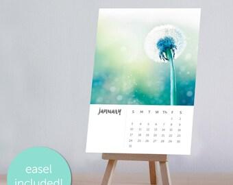 2018 calendar dandelion Photography calendar fine art 4x6 5x7 dandelion desk calendar with easel nature calendar 2017 botanical pastel