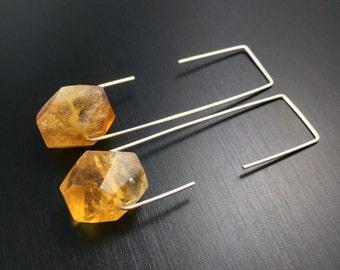 Citrine Hoops, Citrine Earrings, Threader Hoop Earrings, Rectangle Hoops, Rectangle Earrings, Citrine Crystal Earrings, Yellow Earrings
