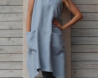 Linen square cross apron / Pinafore / Japanese apron / no-ties apron