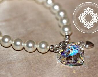 Bridesmaids Personalized Gift set,  Swarovski Pearl bracelet with a Swarovski Crystal Pendant,  bridal party bracelet