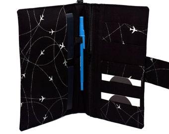 RFID family passport holder | passport wallet | family travel wallet | boarding pass holder |  plane black and grey | 2 - 4 passports