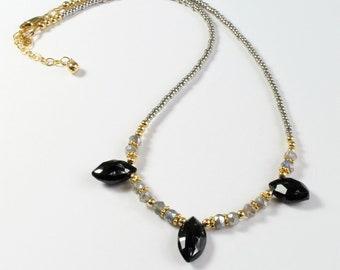 Labradorite Necklace, Womens Gemstone Necklace, Black Garnet Necklace, Dainty boho chic gemstone necklace, labradorite layering necklace
