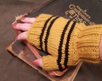 Hufflepuff Azkaban colors inspired wrists warmers - fingerless gloves
