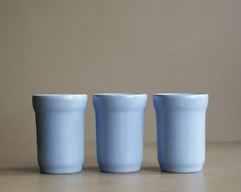 Vintage Pottery Tumblers in Periwinkle Blue, California Pottery, Set of 3, Drinking Glasses, Juice Size
