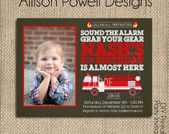 Photo, Picture Fire Truck, Fire Station, Firemen Birthday Party Invitation - DYI - Customizable