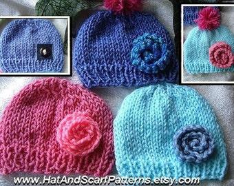 Instant download,  hat knitting pattern,(pdf file) , knit flower pattern, Unisex boy, girl, children, adult, men, women. num 575, beginner
