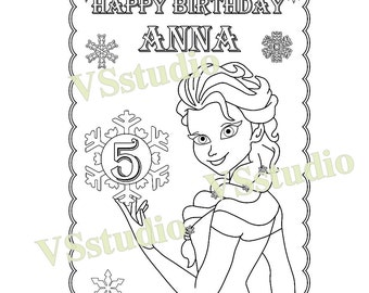 Frozen Birthday Party Favor, Frozen coloring page, PDF file