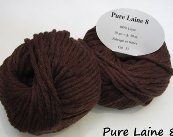 5 skeins of Pure wool soft / Made in France / chocolate