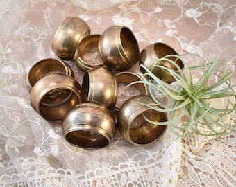 Vintage Brass Napkin Rings/Set of 10/Ten/Made in India/Boho Bohemian