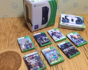 Dolls house handmade miniature xbox 360 bundle - console, headphones and 7 games 1/12 scale