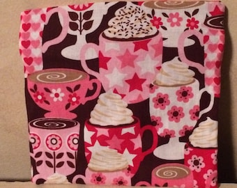 Reusable Fabric Snack Bag with Velcro Closure; Red, Pink & Brown Fabric