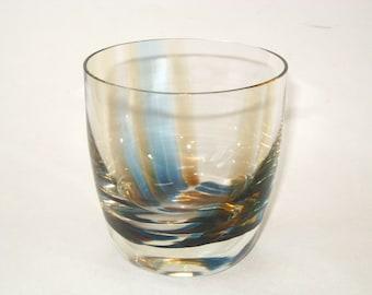 Caithness Glass OBAN Vase Vessel 1960s England Striped Glass Bowl