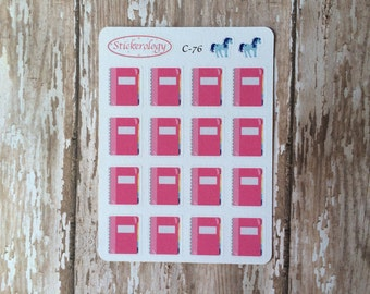 Pink Notebook Stickers, Study Reminder Stickers,  School Stickers, C-76.
