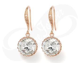 Rose Gold Earings Rose Gold Bridesmaid Earrings RoseGold Bridal Jewelry Earring Wedding Jewelry Gift Rose Gold Earring