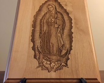 Laser Engraved Alder Wood Plaque! Our Virgin of Guadalupe Unique, Beautiful Gift