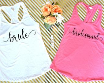 SALE! Bride Tank Top, Bridesmaid Tank Top, Wedding Tank Top, Bride Shirt, Bridesmaid Gift, Racerback Tank Top, Bachelorette Party Shirts
