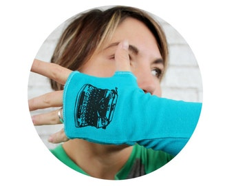 Typewriter Arm Warmers, Long Fingerless Gloves, Peacock Blue Teal, Screen-printed Graphic, gift for Writer, Type Writer, Reading, Hand Sewn