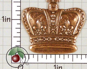 Royal Crown Finding Copper Stamping, Royal Decor, Queen's Crown Made in USA Copper Plated Brass, 1 Pc, 1312co