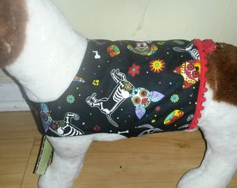 Day of the Dead with red trim, Small dog, Tiny dog, Special Occasion, Halloween, Dia De Los Muertos, Dog clothing, Dog harness