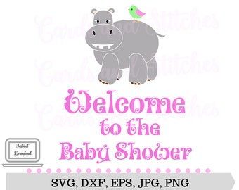 Baby Shower SVG - Baby Hippo SVG - Baby Shower Printable - Digital Cut File - Cricut Cut - Instant Download - Svg Cut, Dxf, Jpg, Eps, Png
