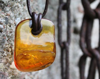 Natural Honey Baltic Amber Charm, Amber Necklace, Amber Pendant, Honey, Brown, Yellow,  Leather, Unisex Pendant, Gift for him