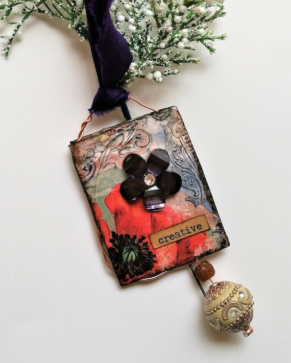 Mixed Media Christmas Ornament - Victorian Inspired Ornaments for Christmas Tree - Festive Home Decor - Fancy Year Round Ornament Decoration