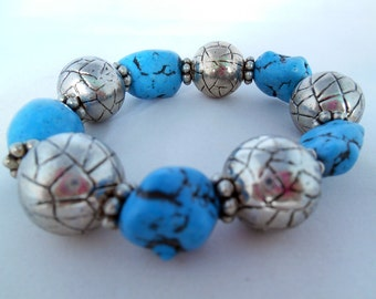 Turquoise Bracelet- Vintage Look -Light Blue - Antique Silver - Shappy Chic - Semiprecious Stone Beads - Gift Idea  - Summer Bracelet