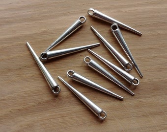 10 x Zinc Alloy Silver Needle Spike Drop Charms for Jewellery Making