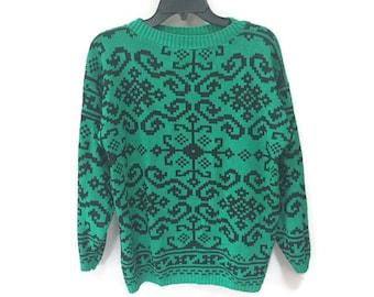 Vintage Green Sweater, Kelly Green & Black Geometric Sweater, Vintage 90s Sweater, 8 Bit Pixel Design 8-bit Sweater Vintage 80s Sweater S M