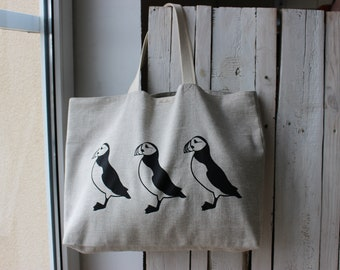 Linen Bag with Puffins - Natural Linen Bag - Canvas Tote Bag - Big Market Bag - Beach Bag - Summer bag with black birds - Puffins on the bag