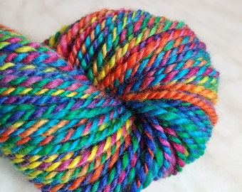 Wool handspun RAINBOW yarn 3oz 70yards 23 mc / 85g 68m selfstripped yarn handspun hat scarf snood blanket yarn