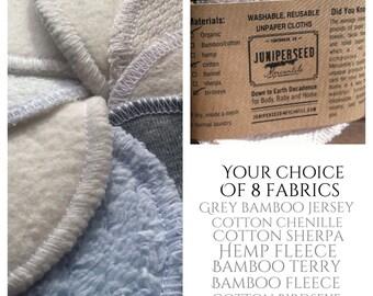 Lavable Alternative aux jetables visage Poufs - vous choisissez de 8 tissus - bambou, coton, chanvre - 12 laver le sac cosmétique tours, Plus de BONUS