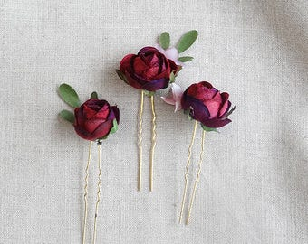 burgundy flower hair pins, burgundy rosebud hair pin, bridesmaid hair accessories, burgundy wedding, floral hair pins, dark red hair piece
