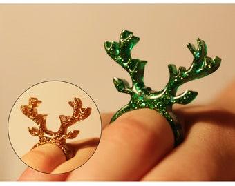 Resin Glitter Ring Deer/Rudolph 17 - 18 mm