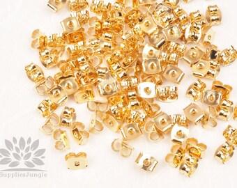 A345-G// Gold Plated Metal Brass Earring Stoppers, Earring Backs, Earring nuts 50pcs