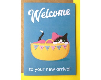 Welcome to your new arrival // cute, funny greetings card / new arrival / new kitten / basket / digital illustration / fine art print