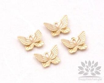 P543-MG// Matt Gold Plated Mini Butterfly Pendant, 6pcs