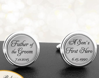Father of the Groom Cufflinks A Sons First Hero Personalized Cufflinks Handmade Cuff Links for Wedding Men Dads Stepfathers, Fathers