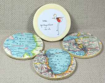 Custom Map Coasters, US and Asia Vintage Maps, Wanderlust Gifts, Map decoupage, Coaster Gift Set, Fathers Day Gift