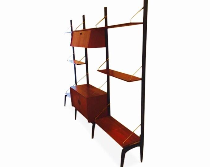 Danish Mid-Century Modern Freestanding Modular Wall Unit by Louis Van Teeffelen for Webe