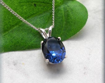 Oval Blue Sapphire Necklace, Birthday Gift for Her, Sterling Silver, September Birthstone Necklace, Blue Sapphire Pendant, Gemstone