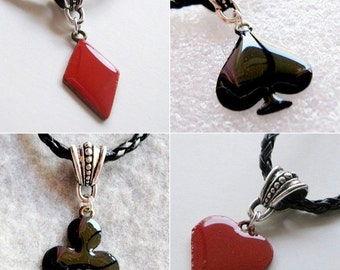 Spade Necklace ,Card Suit Necklaces/Diamond Heart Club,Poker  Playing card charm, Spade charms
