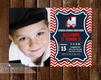 Train Invitation - Photo Invite - Train Birthday Party - Chevron Choo Choo Train - Boy Birthday - 2nd Birthday - PRINTABLE Invitation Design