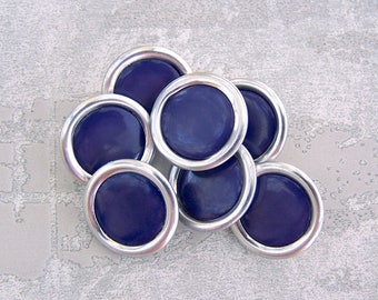 Mid-Century Metal Buttons, 19mm 3/4 inch - Ring-Around Silver w/ Blueberry Purple Centers - 7 VTG NOS Silver-Tone Metal Shank Buttons MT020