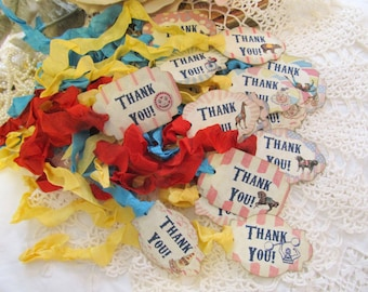 Vintage Carnival Favor Tags Circus Thank You Favor Tags - Set of 18 - Choose Ribbons - Circus Birthday Vintage Style