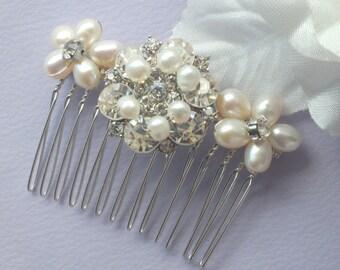 Anne-Freshwater Pearl and Rhinestone Bridal Comb