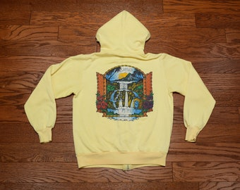 vintage 70s South Moon Under hoodie hooded sweatshirt surf surfing Sunshine Designs California M medium pale yellow hoodie RARE!