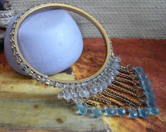 Vintage Indian Bangle -- Hand-made Ornate Brass Bangle with Lilac and Blue Crystal Dangles from 1970s,  Made in India, Boho wristband