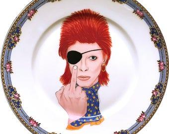 David Bowie - Ziggy Stardust - Watercolor - Vintage Porcelain Plate - #0576