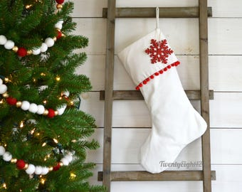 Velvet Pom Pom Stocking - Red Pom Pom - Velvet Stocking, Stocking, Christmas Stocking, Personalized Stocking, Kids Stocking